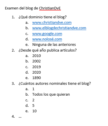 Un examen de ejemplo (enunciado) tipo test para corregir automátiamente