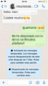 Chat con los mensajes temporales de WhatsApp activados y desactivados