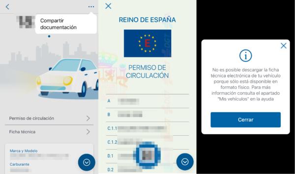 Ficha técnica de los vehículos en la app de permiso de conducir en el móvil