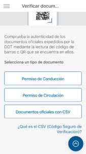 Opciones para verificar un permiso de conducir, permiso de circulación o documentos oficiales con CSV