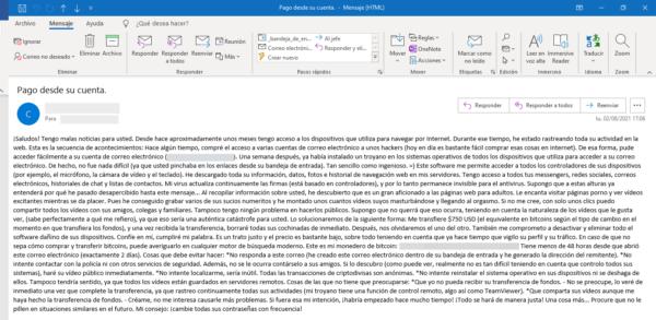 Scam por correo electrónico: extorsiones o amenazas